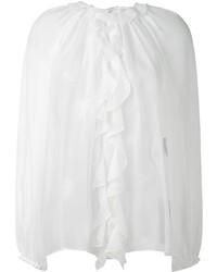 Chemisier à manches longues en soie à volants blanc Dolce & Gabbana