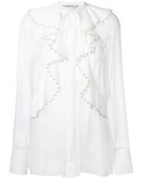 Chemisier à manches longues en soie à volants blanc Givenchy