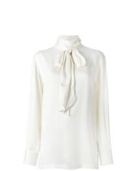 Chemisier à manches longues en soie blanc Lanvin