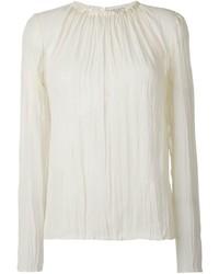 Chemisier à manches longues en soie blanc Nina Ricci