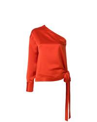 Chemisier à manches longues en soie orange MSGM
