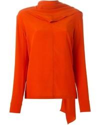 Chemisier à manches longues en soie orange Stella McCartney