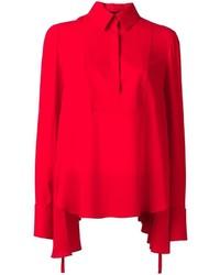 Chemisier à manches longues en soie rouge Alexander McQueen
