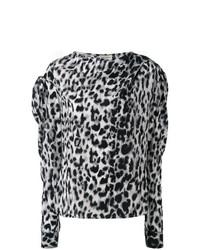 Chemisier à manches longues imprimé léopard gris Saint Laurent