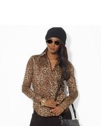 Chemisier à manches longues imprimé léopard marron clair