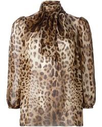 Chemisier à manches longues imprimé léopard marron clair Dolce & Gabbana