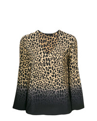 Chemisier à manches longues imprimé léopard marron clair Etro