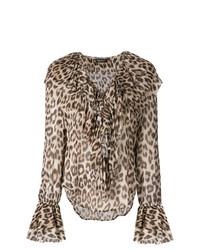 Chemisier à manches longues imprimé léopard marron clair Twin-Set