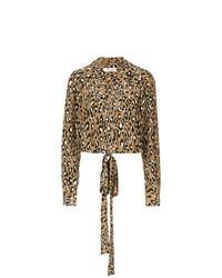 Chemisier à manches longues imprimé léopard marron