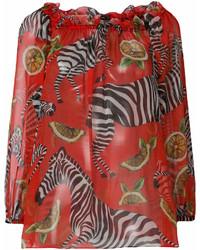 Chemisier à manches longues imprimé rouge Dolce & Gabbana