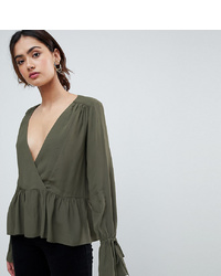 Chemisier à manches longues olive Asos Tall