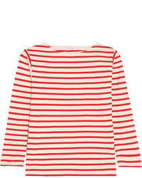 Chemisier à rayures horizontales rouge Saint Laurent