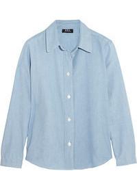 Chemisier boutonné en chambray bleu clair