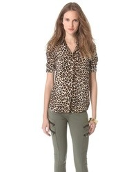 Chemisier boutonné en chiffon imprimé léopard brun