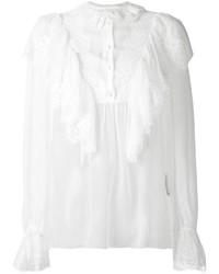 Chemisier boutonné en dentelle blanc Dolce & Gabbana