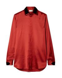 Chemisier boutonné en satin rouge Saint Laurent