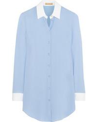 Chemisier boutonné en soie bleu clair Michael Kors