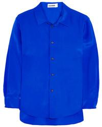 Chemisier boutonné en soie bleu Jil Sander