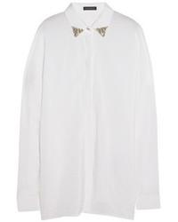 Chemisier boutonné en soie orné blanc Versace