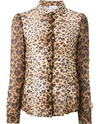 Chemisier boutonné imprimé léopard marron clair