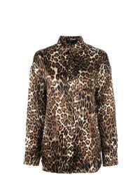 Chemisier boutonné imprimé léopard marron R13