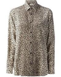 Chemisier boutonné imprimé léopard marron Saint Laurent