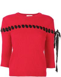 Chemisier en dentelle en tricot rouge Fendi