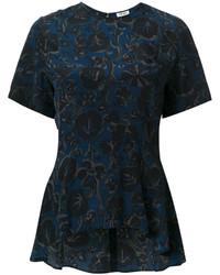 Chemisier en soie à fleurs bleu marine Kenzo
