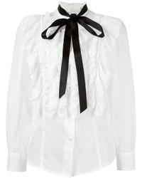 Chemisier en soie à volants blanc Marc Jacobs
