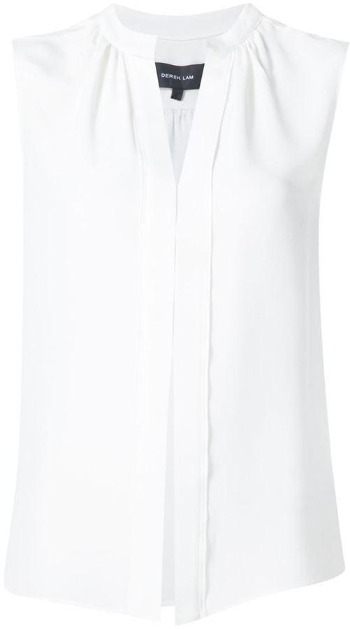 Chemisier en soie plissé blanc Derek Lam