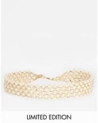 Collier de perles beige Asos