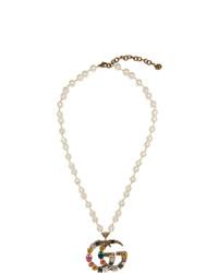 Collier de perles orné de perles doré Gucci