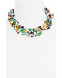 Collier orné de perles multicolore