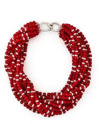 Collier orné de perles rouge