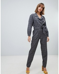 Combinaison pantalon à carreaux gris foncé Mango