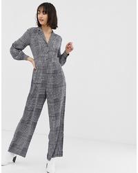 Combinaison pantalon à carreaux grise Warehouse