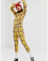 Combinaison pantalon à carreaux jaune Signature 8
