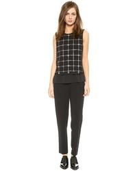 Combinaison pantalon à carreaux noire et blanche Tory Burch