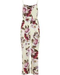Combinaison pantalon à fleurs blanche