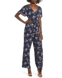 Combinaison pantalon à fleurs bleu marine