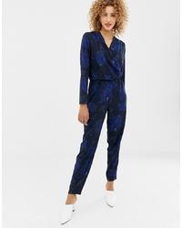 Combinaison pantalon à fleurs bleu marine Only