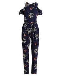 Combinaison pantalon à fleurs bleue marine Dorothy Perkins
