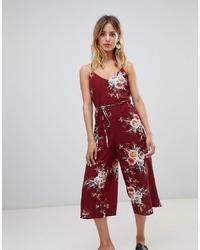 Combinaison pantalon à fleurs bordeaux New Look