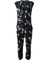 Combinaison pantalon à fleurs noire