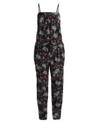 Combinaison pantalon à fleurs noire Esprit