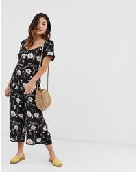 Combinaison pantalon à fleurs noire Miss Selfridge