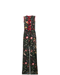 Combinaison pantalon à fleurs noire RED Valentino