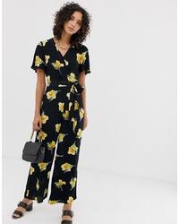 Combinaison pantalon à fleurs noire Warehouse