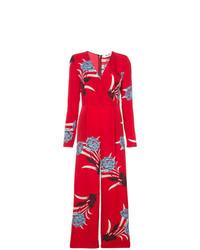 Combinaison pantalon à fleurs rouge