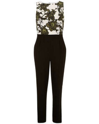 Combinaison pantalon à fleurs vert foncé